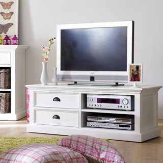 Interior White 2-shelf Double-drawer Media Center and TV Stand