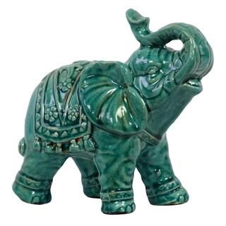Ornate Turquoise Ceramic Elephant
