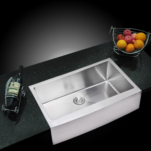 Water Creation Single Bowl Stainless Steel Apron Front Kitchen Sink with Drain, Strainer, Bottom Grid