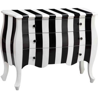 Loki Striped Black and White Wood 3-drawer Chest