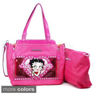 Betty Boop Rhinestone Detailed 2-in-1 Tote Bag