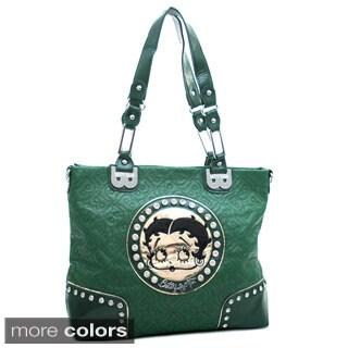 Betty Boop Large Rhinestone Studded Tote Bag