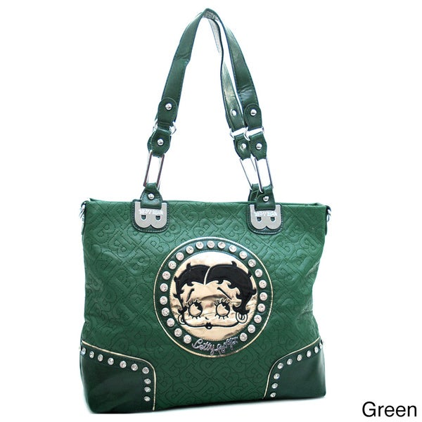 Betty Boop Large Rhinestone Studded Tote Bag