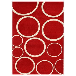 Handmade Circle Red Blend Wool Area Rug (9' x 12')