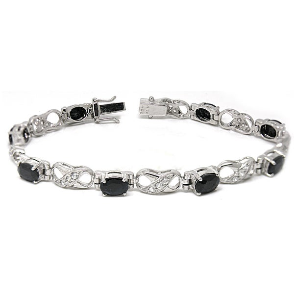 De Buman Sterling Silver Natural Sapphire and White Topaz Bracelet