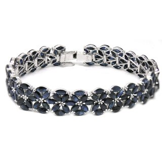 De Buman Sterling Silver Natural Sapphire Flower Bracelet