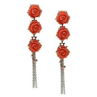 "Michael Valitutti Two-tone Salmon Coral ""Roses"" Earrings"