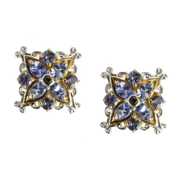 Michael Valitutti Two-tone Tanzanite and Blue Sapphire Stud Earrings