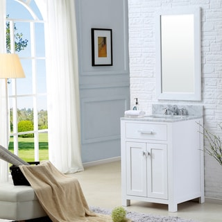 Madison Solid White Single Sink Bathroom Vanity with Matching Framed Mirror