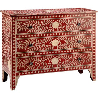 Rombauger Red and White Floral Medallions 3-drawer Chest