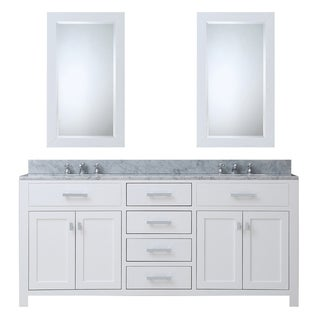 Water Creation Madison Solid White Double Sink Bathroom Vanity with 2 Matching Framed Mirrors