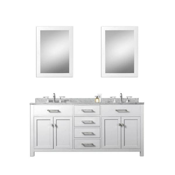 Madison Solid White Double Sink Bathroom Vanity With Two