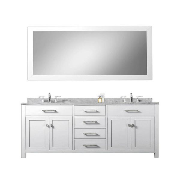 Madison solid white double sink bathroom vanity with large for Large white framed mirror