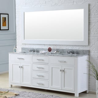 Madison Solid White Double Sink Bathroom Vanity with Large Framed Mirror