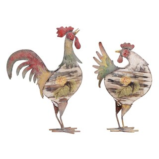 Aluminum Rooster Wall Decor (Set of 2)