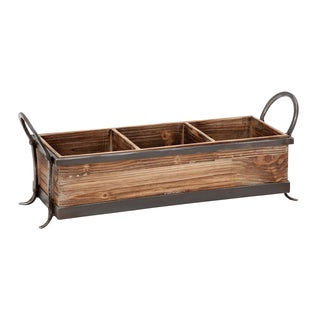 Metal and Natural Wood 3-compartment Tray