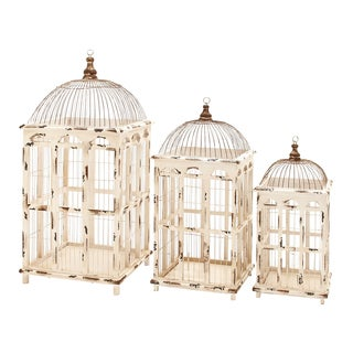Metal Off-white Finished Bird Cages (Set of 3)