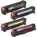 HP CC530A (HP 304A) Compatible Black Cyan Yellow Magenta Toner Cartridge Set (Pack of 4)