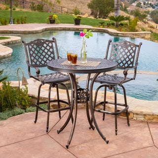 Christopher Knight Home Avon 3-piece Cast Aluminum Copper Outdoor Bar Set