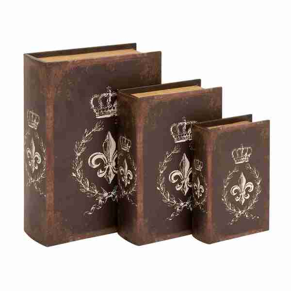 Traditional Style Bound Book Box (Set of 3)