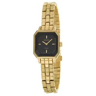 Seiko Women's 'Solar' Yellow Gold-Plated Stainless Steel Solar Powered Quartz Watch