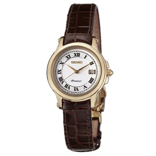 Seiko Women's 'Premier' Yellow Gold-Plated Stainless Steel Japanese Quartz Watch