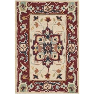Safavieh Hand-hooked Chelsea Red/ Ivory Wool Rug (1'8 x 2'6)
