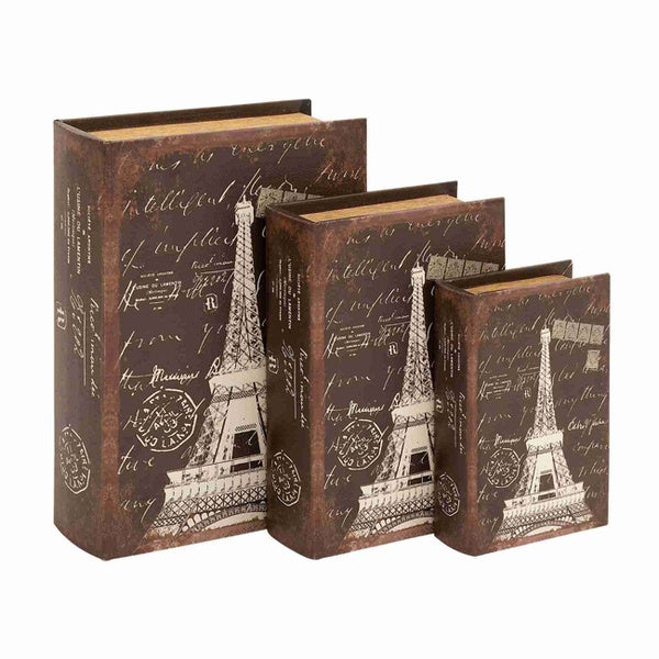 Book Box in Dark Brown Hue with Robust Design (Set of 3)