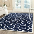 Indoor Safavieh Handmade Moroccan Chatham Dark Blue/ Ivory Wool Rug (8' x 10')