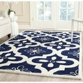 Safavieh Handmade Moroccan Chatham Canvas-backed Dark Blue/ Ivory Wool Rug (8' x 10')