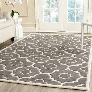Safavieh Handmade Moroccan Chatham Dark Gray/ Ivory Rectangular Wool Rug (4' x 6')