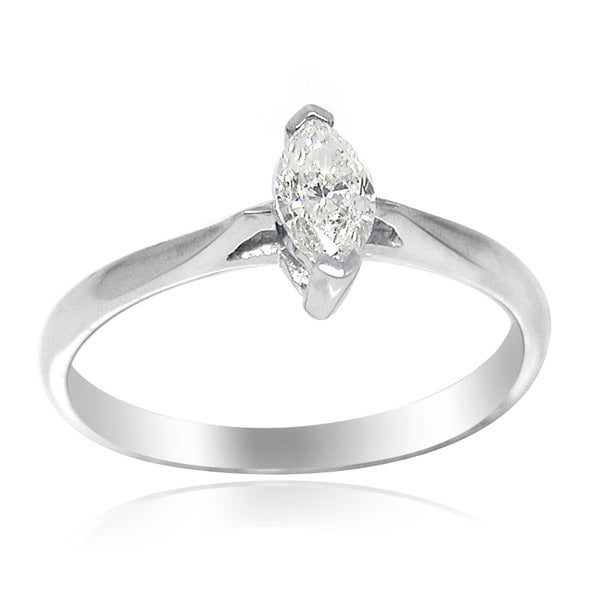 De Buman 18k White Gold 1/3ct TDW Marquise Cut Diamond Solitaire Ring (G-H, SI3)
