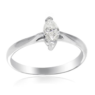 De Buman 18k White Gold 1/3ct TDW Marquise Cut Diamond Solitaire Ring (G-H, SI3)