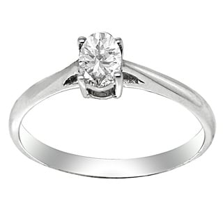 De Buman 18k White Gold 1/3ct TDW Oval Cut Diamond Solitaire Ring (G-H, SI3)