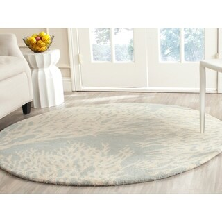 Safavieh Handmade Bella Grey/ Ivory Wool Rug (5' Round)