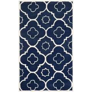 Safavieh Handmade Moroccan Chatham Dark Blue/ Ivory Wool Rug with .5-inch Pile (3' x 5')