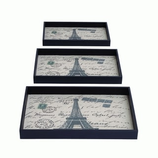 Paris Themed Metal/ Fabric Trays (Set of 3)