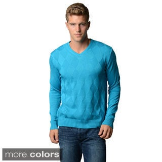Men's Slim Fit Diamond Pattern V-neck Sweater