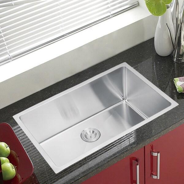 Water Creation SSS-U-3018B 30x18-inch Single Bowl Stainless Steel Undermount Kitchen Sink Drain and Strainer