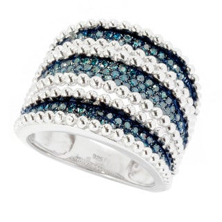Sterling Silver 3/4ct TDW Blue Diamond Multi-row Ring