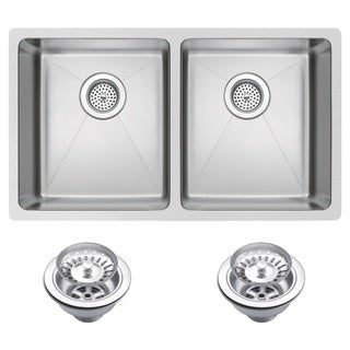 Water Creation SSS-U-3118A 31x18-inch 50/50 Double Bowl Stainless Steel Undermount Kitchen Sink Drains and Strainers