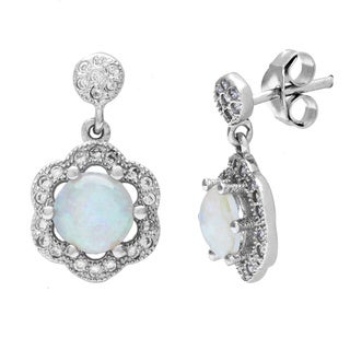 La Preciosa Sterling Silver Opal and Micro Pave CZ Flower Earrings