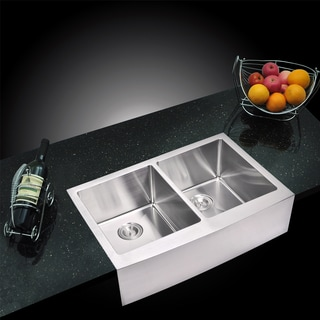 Water Creation 50/50 Double Bowl Stainless Steel Apron Front Kitchen Sink (33 x 22 inches)