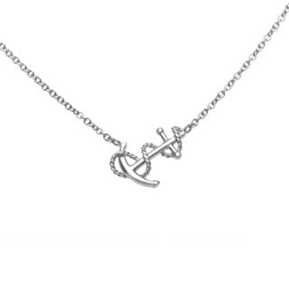 La Preciosa Sterling Silver Sideways Anchor with Winding Rope Necklace
