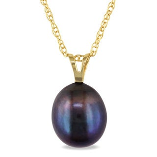 Miadora 10k Yellow Gold Black Pearl Necklace (8-9 mm)