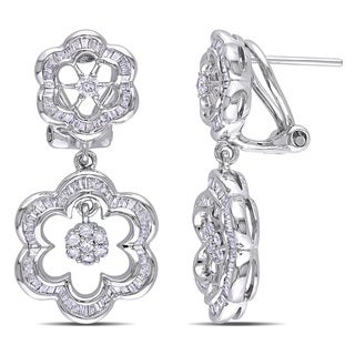 Miadora Signature Collection 14k White Gold 1 1/6ct TDW Flower Diamond Earrings (G-H, I1)