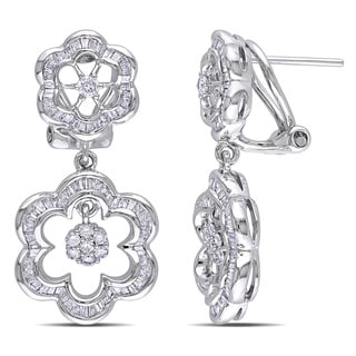 Miadora 14k White Gold 1 1/6ct TDW Diamond Flower Earrings (G-H, I1)
