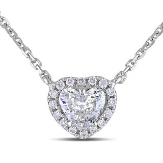 Miadora Signature Collection 14k White Gold 1/2ct TDW Diamond Heart Necklace (G-H, I1-I2)