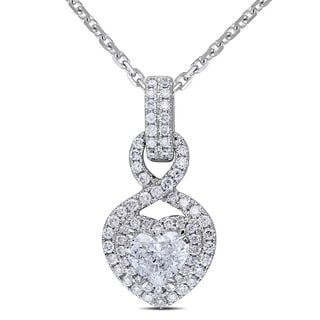 Miadora 14k White Gold 1 1/4ct TDW Diamond Heart Necklace (G-H, I1-I2)