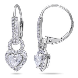 Miadora 14k White Gold 1ct TDW Diamond Heart Earrings (G-H, I1-I2)